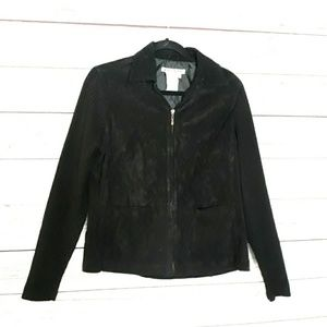 A.M.I. Black Genuine Suede Leather Jacket